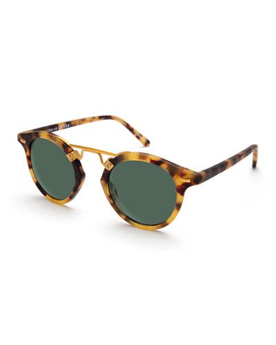 St. Louis Round Monochromatic Sunglasses, Brown Tortoise