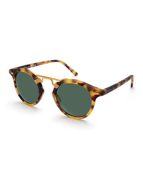 KREWE St. Louis Round Monochromatic Sunglasses, Brown Tortoise