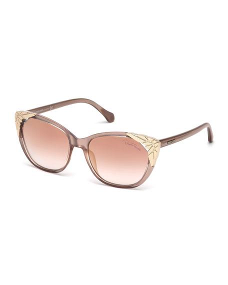 Roberto Cavalli Capped Cat-Eye Sunglasses, Rose