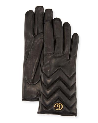 GG Marmont Chevron Leather Gloves, Black