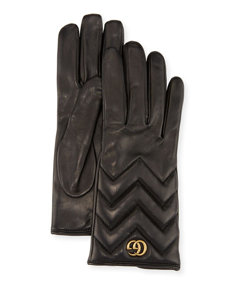 Gucci GG Marmont Chevron Leather Gloves, Black