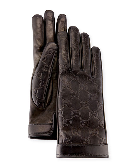 Signature Leather Gloves, Black