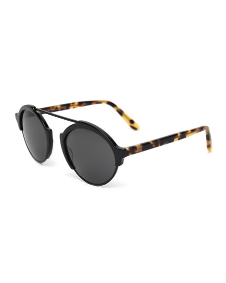 Milan3 Polarized RoundSunglasses, Black/Tortoise