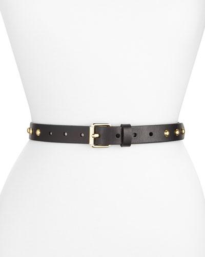 Dome-Stud Flat Strap Leather Belt, Black