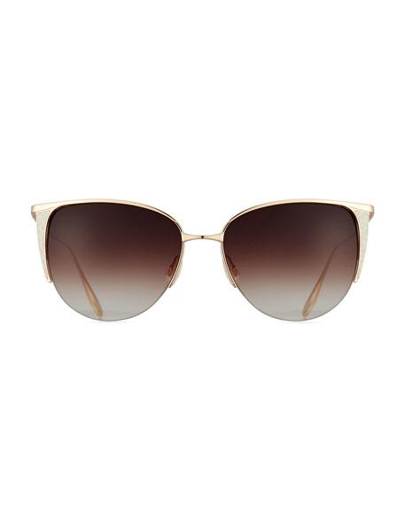 Devlin Squared Cat-Eye Sunglasses, Gold