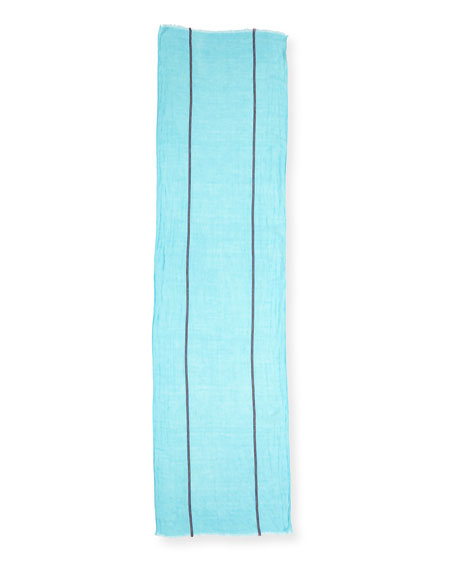 Distressed Organic Linen-Blend Striped Scarf, Scarab