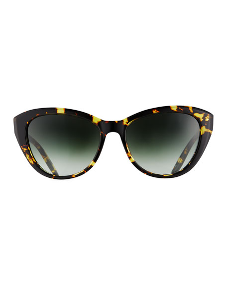 Graziana Cat-Eye Sunglasses, Yellow Tortoise