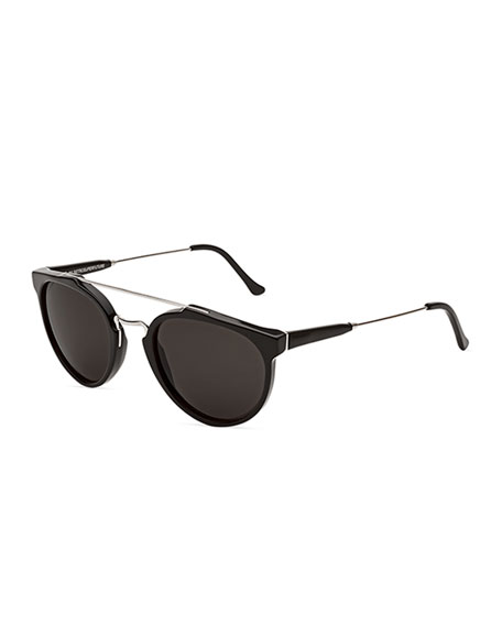 SUPER Giaguaro Brow-Bar Sunglasses, Black/Gray
