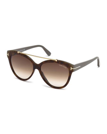 TOM FORD Livia Cat-Eye Brow-Bar Sunglasses, Brown Havana