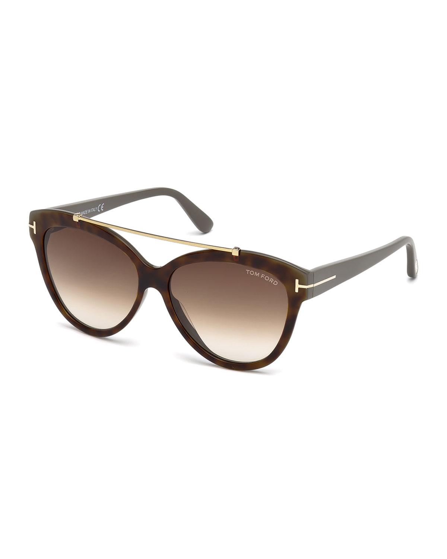 408926e7a62 TOM FORD Livia Cat-Eye Brow-Bar Sunglasses