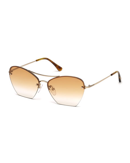 TOM FORD Annabel Cutoff Aviator Cat-Eye Sunglasses, Rose/Gold