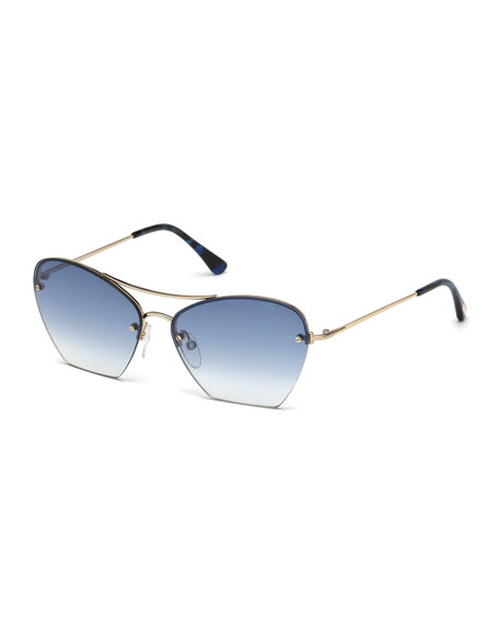 TOM FORD Annabel Cutoff Aviator Cat-Eye Sunglasses, Rose/Blue