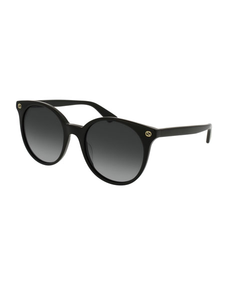 Gucci Round Gradient Acetate Sunglasses, Black