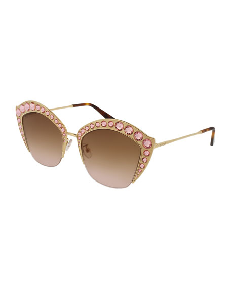 Gucci Semi-Rimless Swarovski® Cat-Eye Sunglasses, Gold
