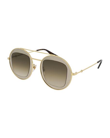 Gucci Round Brow-Bar Sunglasses, Yellow