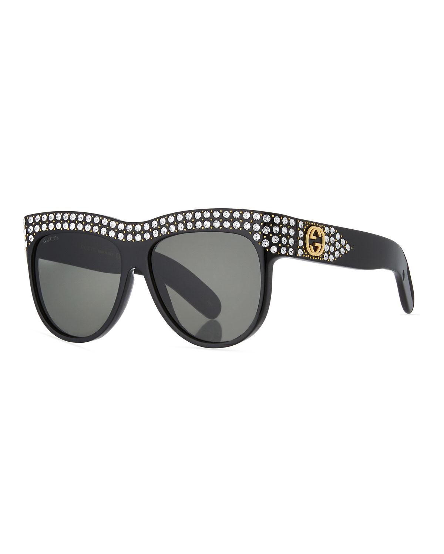 f130bab1f5 Gucci Swarovski Crystal Square Logo Sunglasses