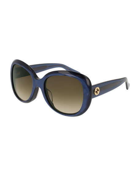Universal-Fit Acetate Butterfly Sunglasses, Blue