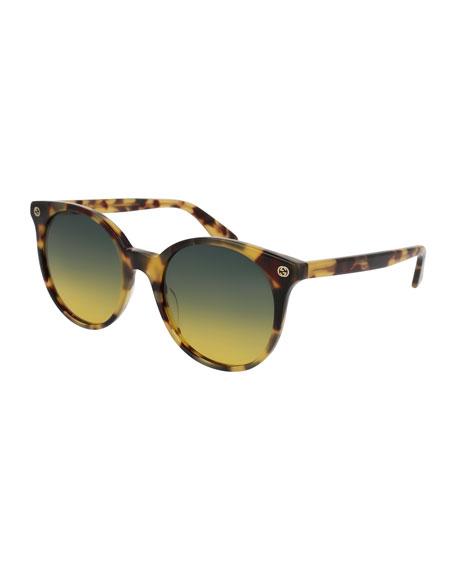 Round Gradient Acetate Sunglasses, Brown Havana