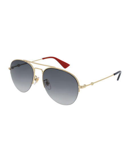 Gucci Metal Aviator Sunglasses, Gold/Gray