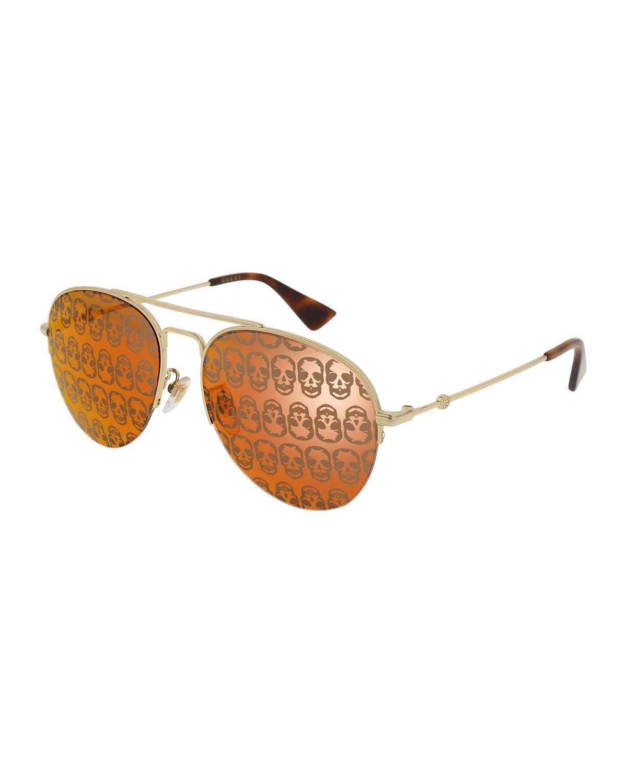 6ff9b41f18e Gucci Metal Skull Aviator Sunglasses