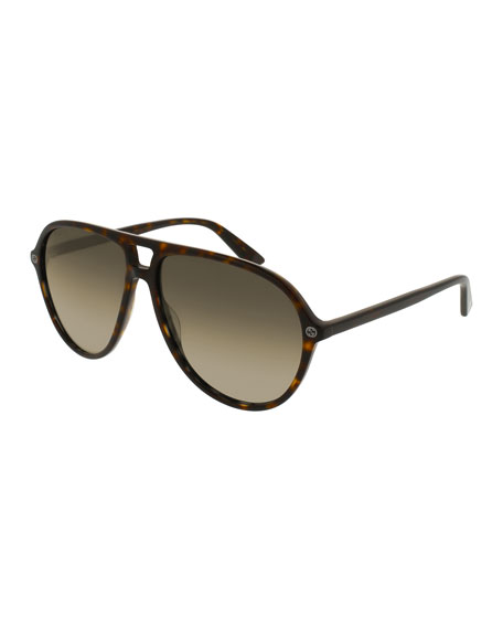 Gucci Acetate Aviator Sunglasses, Brown Tortoise
