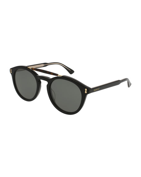 Round Brow-Bar Sunglasses, Black