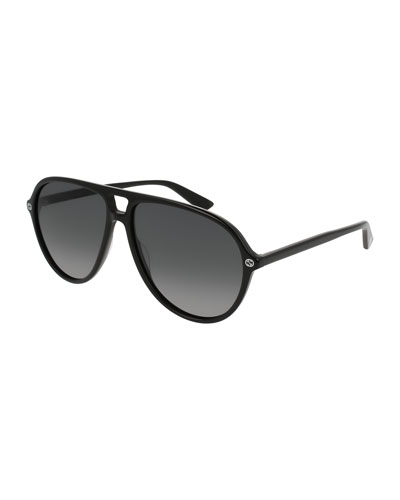 Acetate Polarized Aviator Sunglasses, Black