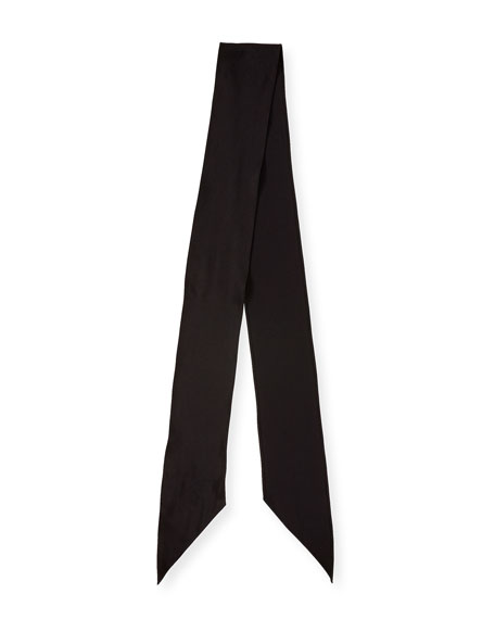 Plain Satin Super Skinny Scarf, Black