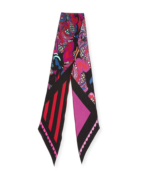 Pine Cone Paisley Classic Skinny Scarf, Pink