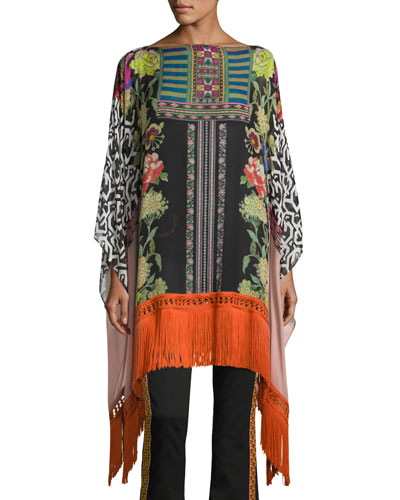 Mixed Floral-Print Poncho with Fringe, Pink