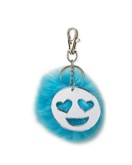 Bari Lynn Girls' Emoji & Fur Pompom Keychain,