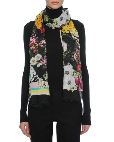 Dolce & Gabbana Floral Bouquet Modal-Cashmere Scarf, Black