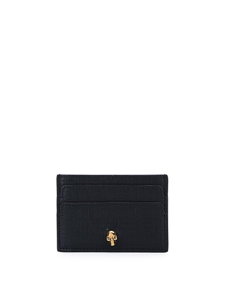 Alexander McQueen Skull Leather Card Case, Black