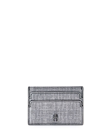 Alexander McQueen Skull Leather Card Case, Gray Metallic
