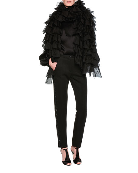 Ruched & Ruffled Organza Cape, Black