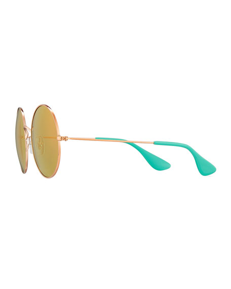 Ja-Jo Round Sunglasses, Gold/Green
