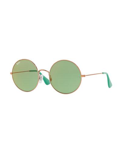 Ja-Jo Round Sunglasses, Gold/Green
