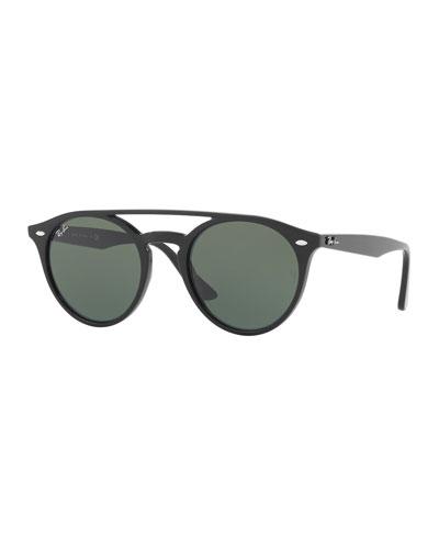 ray ban round frame acetate sunglasses  round brow bar sunglasses, black/green