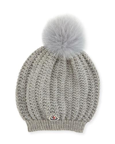 047a9022222 Moncler Bailey Slouchy Fur Pompom Beanie Hat
