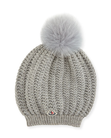 Moncler Bailey Slouchy Fur Pompom Beanie Hat
