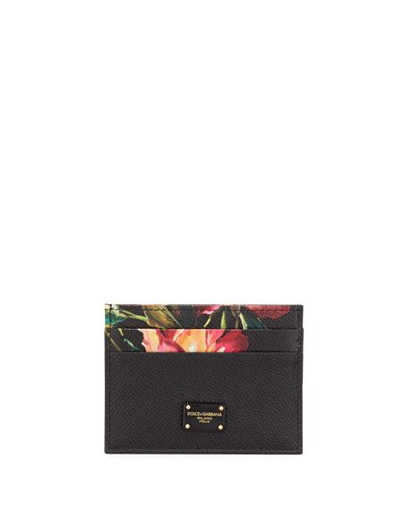 Dolce & Gabbana Floral Pebbled Card Holder