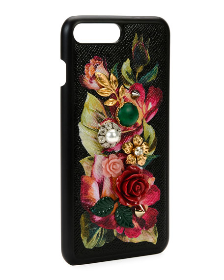 Floral Embellished iPhone 7+ Case, Black
