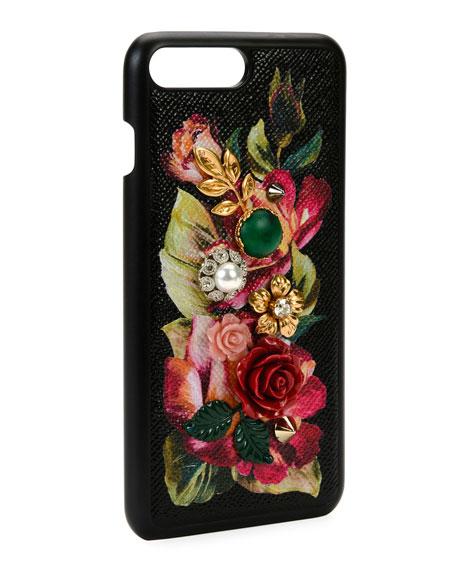 Floral Embellished iPhone 7+ Case, Black