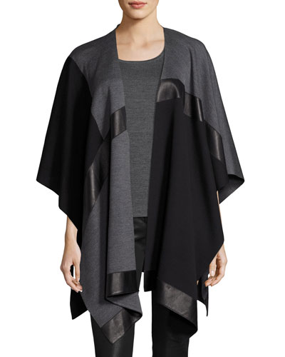 Milano Knit Colorblock Wrap w/ Leather Detail