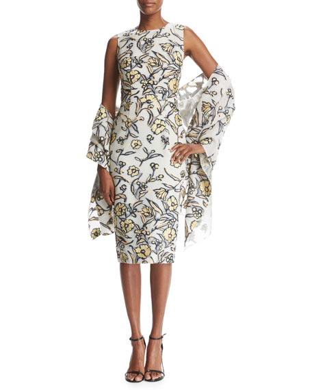 St. John Collection Painted Floral Organza Wrap