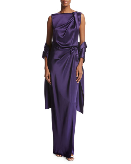 St. John Collection Liquid Satin Wrap, Violet