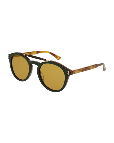 Gucci Round Two-Tone Brow-Bar Sunglasses, Green/Havana
