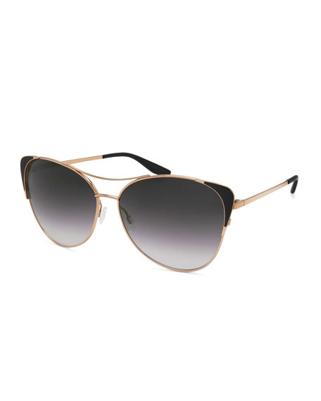 Barton Perreira Raphina Cat-Eye Aviator Sunglasses, Jet/Gold
