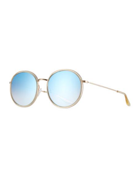 Barton Perreira Joplin 2 Round Mirrored Metal-Rim Sunglasses