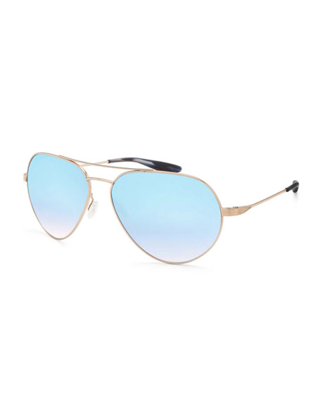 Barton Perreira Commodore Mirrored Aviator Sunglasses, Gold/Arctic